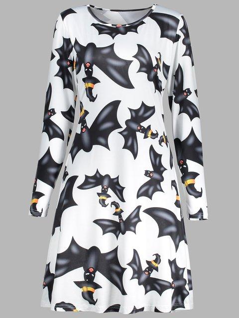 Crew Neck White Women Casual Dresses A-Line Date Animal Halloween Dresses