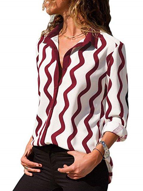 Printed Shirt Collar Striped Long Sleeve Blouses