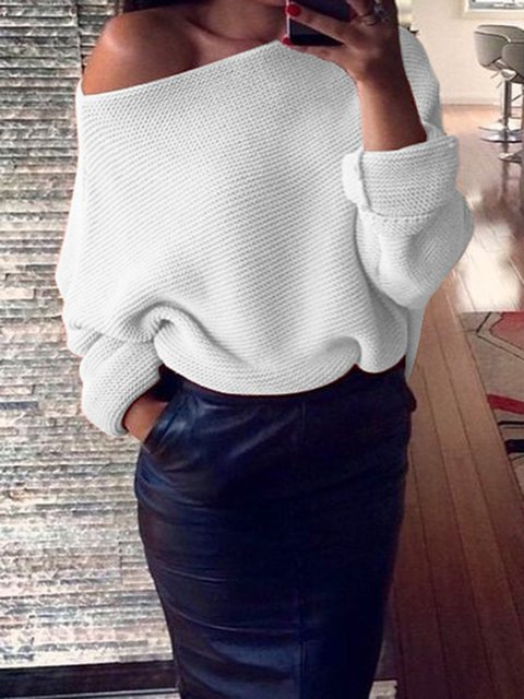 Solid Long Sleeve Knitted One Shoulder Sweaters