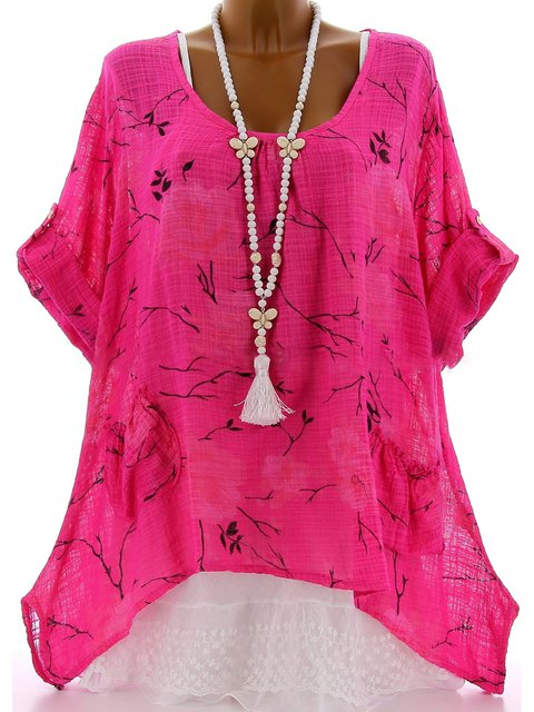 Long Sleeve U-Neck Cotton-Blend Floral Printed/dyed Blouses