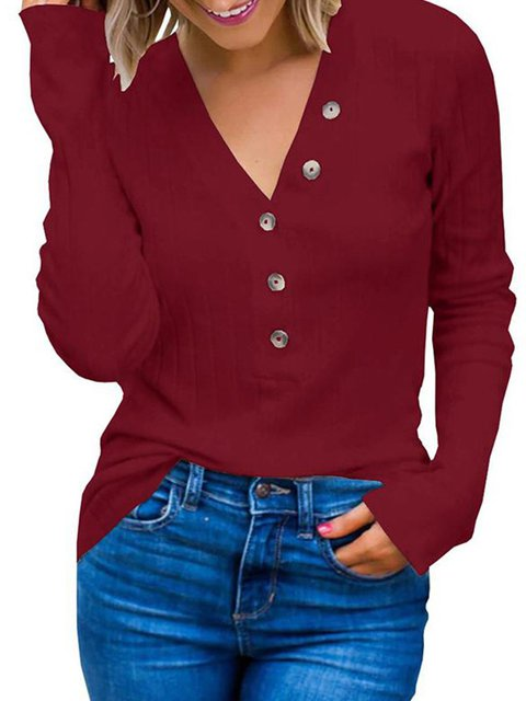 V Neck Buttoned Long Sleeve Solid Sweaters