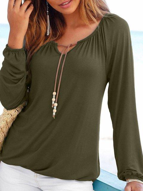 Long Sleeve Lace Up Cotton V Neck T-Shirts