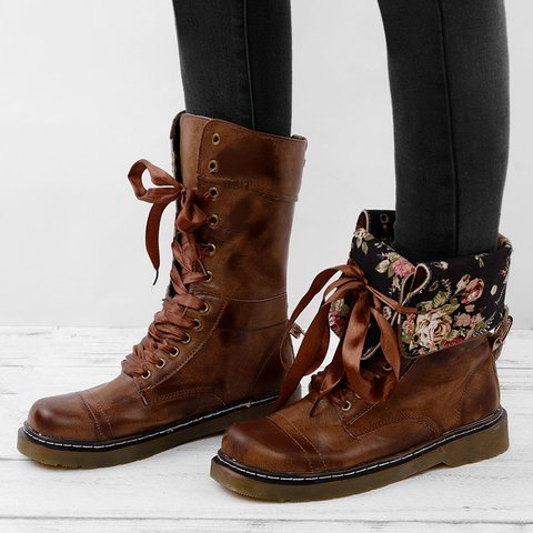 Womens Vintage Chunky Heel Boots Lace-up Leather Daily Mid-Calf Boots