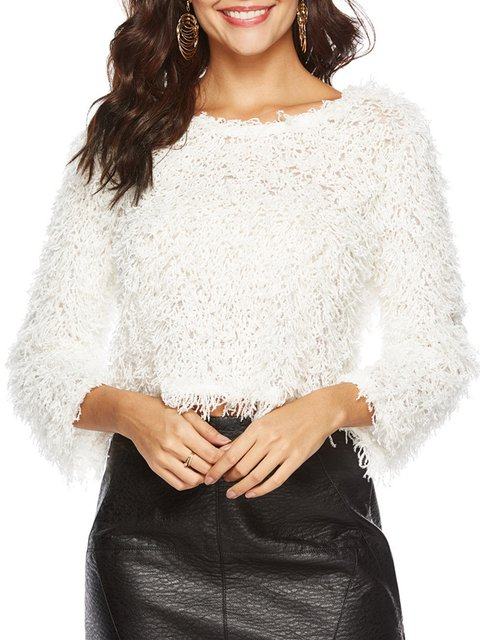 Elegant Long Sleeve One Shoulder Teddy Bear Jumper Sweaters