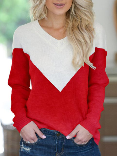 Knitted Striped Sweet Color-Block V Neck Long Sleeve Sweaters