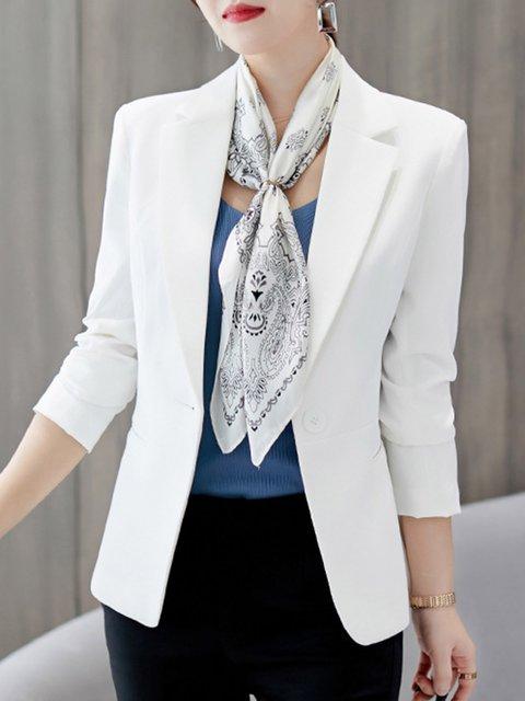Buttoned Lapel Long Sleeve Office & Career Plain Elegant Blazers