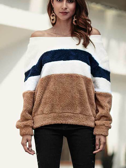 Fleeve Fuzzy Long Sleeve Vintage Off Shoulder Striped Teddy Bear Sweaters