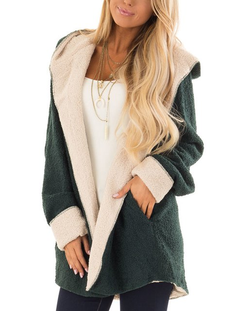 Green Vintage Pockets Hoodie Solid Jacket Long Sleeve Teddy Bear Fleece Coats