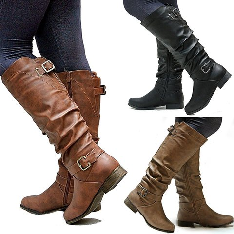 Womens Zipper Daily Chunky Heel Riding Knee High Boots