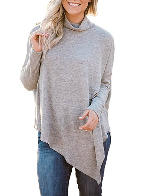 Casual Batwing Solid Paneled Lightweight Turtleneck T-Shirts