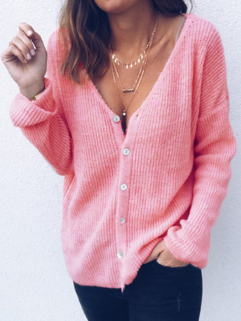 V Neck Solid Buttoned Sweet Knitted Long Sleeve Sweaters