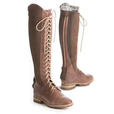 Warm Lined Non-slip Riding Boots Plus Size Low Heel Pu Boots