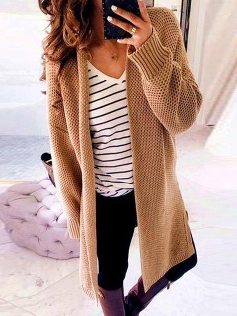Fashion Long Sleeve Plain Casual Cardigans