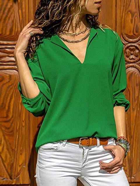 V Neck Long Sleeve Solid Vintage Blouses