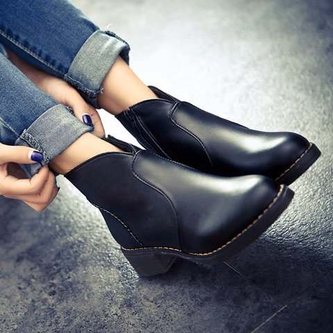 Womens PU Round Toe Ankle Boots
