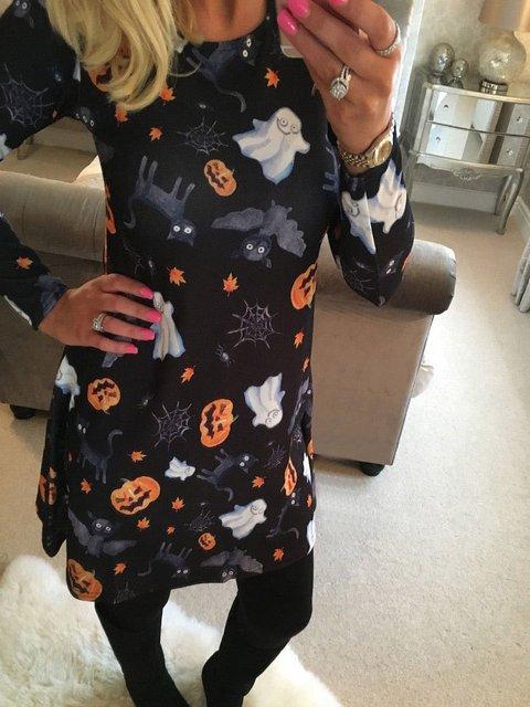 Halloween Crew Neck Black Women Floral Dresses A-Line Daily Floral-Print Floral Dresses
