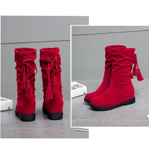 f551209509e Justfashionnow Women s Boots Flat Heel Round Toe Lace-Up Red Boots