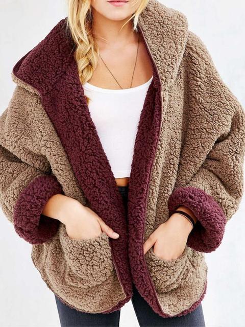 Reversible Faux Fur Long Sleeve Hooded Teddy Bear Coat