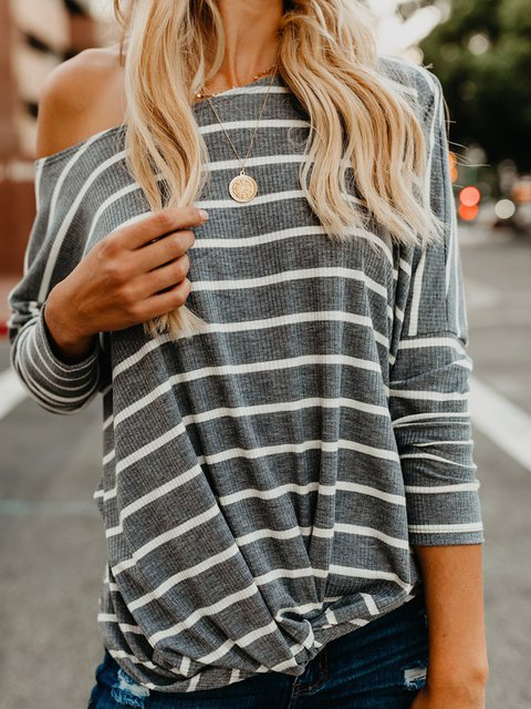 Printed One Shoulder Casual Striped T-Shirts