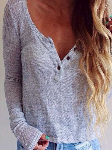 Buttoned Long Sleeve Simple & Basic Women's Jumper T-Shirts