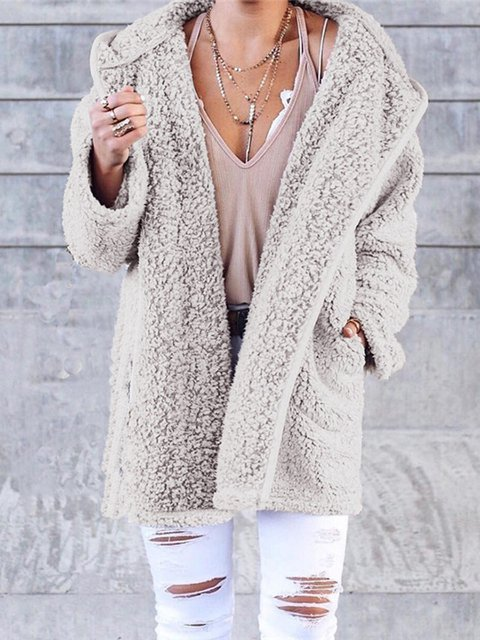 Solid Cony Hair Cashmere Women's Warmest Teddy Bear Coats With Hoodie