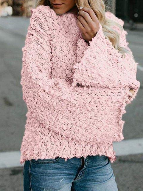 Bell Sleeve Crew Neck Paneled Women's Stylish Sherpa Jumper Sweaters