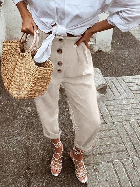 Bottoms Buttoned Cotton Linen High-Rise Trousers Paneled Plain Women's Pants