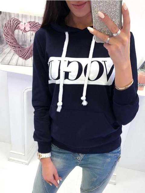 Outdoor Letter Vogue Long Sleeve Casual Women's Jumper Hoodies