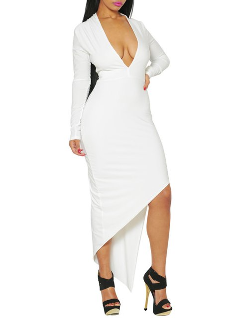 Deep V-Neck White Dress