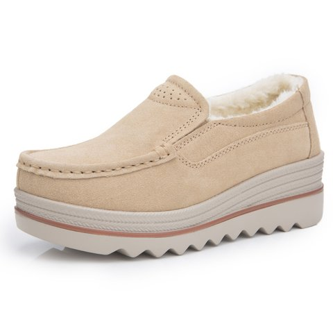 Women Casual Platform Flocking Creepers Athletic Slip On Shoes