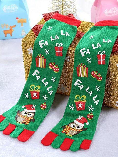 Unisex Santa Eagles Christmas Snowman Stripes Casual Christmas Gift Breathable Toe Socks