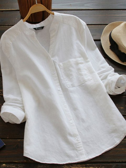 Buttoned Linen Casual Long Sleeve Blouses