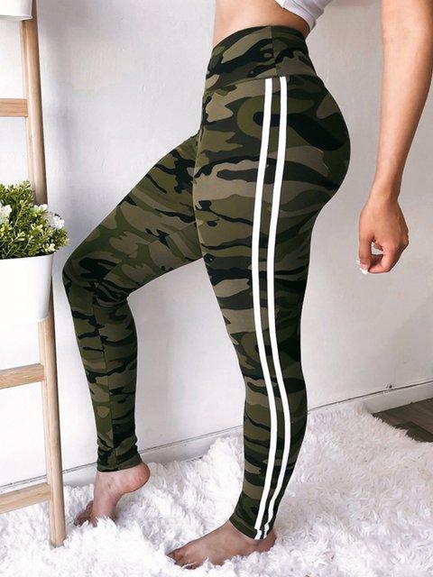 Bottoms Plain Casual Basic Trousers Striped Yoga Legging Pants For Women