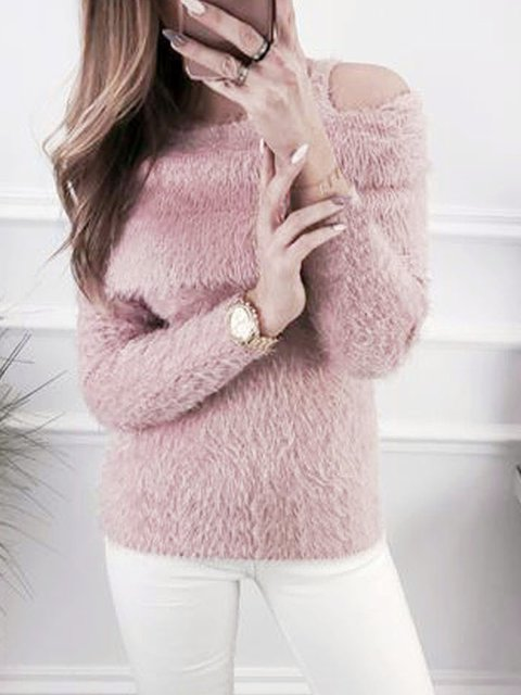 Fuzzy Cold Shoulder Long Sleeve Pullover Jumper Teddy Bear Sweaters