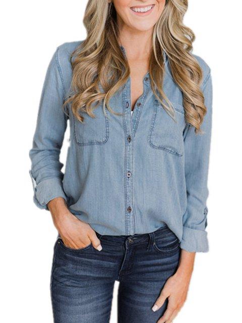 Blue Buttoned Denim Casual Paneled Women's Boyfriend Shirts