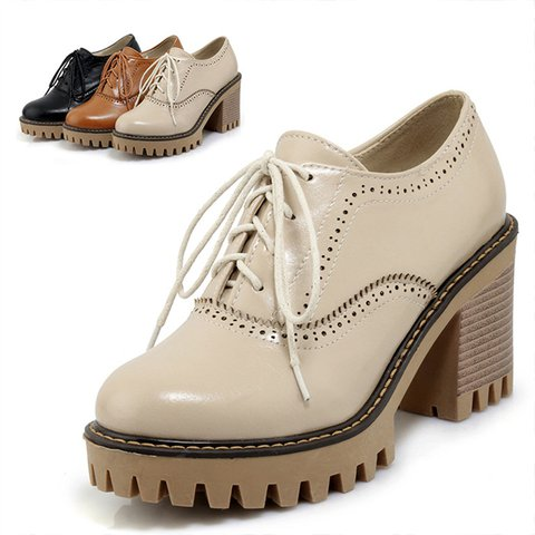 Women Chunky Heel Slip On Oxfords Loafers Casual Shoes