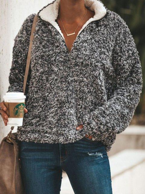 Gray Fuzzy Cashmere Women's Warm Winter Sherpa Sweatshirts