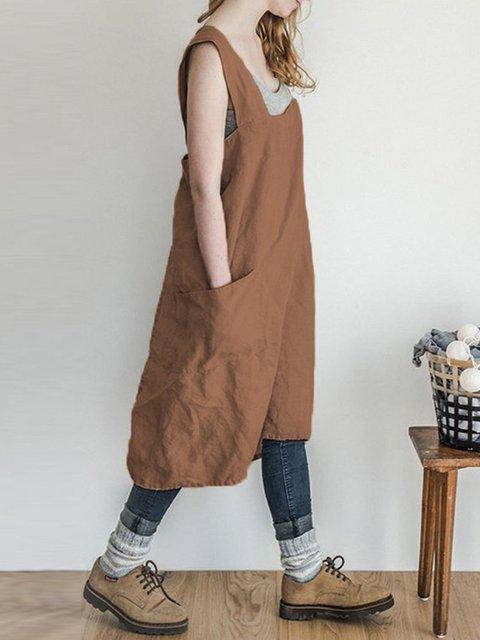 d0f8eada7c121 Square Neck Women Summer Dresses Shift Daily Cotton-Blend Pockets Dresses