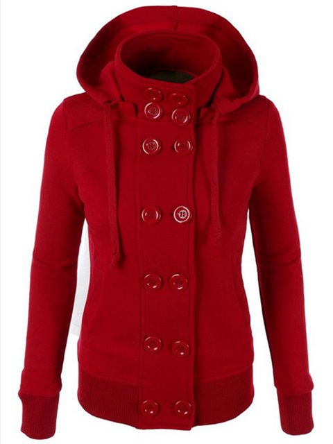 Plain Pockets Outwear Buttoned Peacoat Shorts Coats With Hoodie For Women