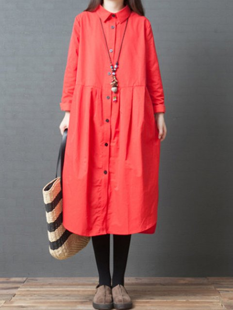Shirt Collar Women Elegant Dresses A-Line Daily Casual Solid Dresses