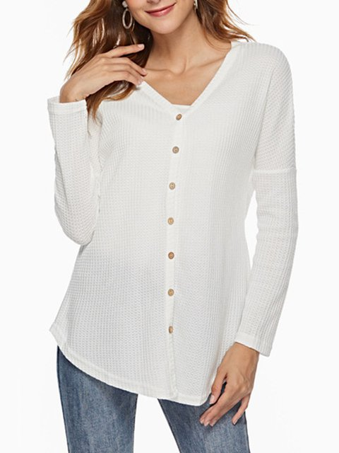4 Colors V Neck Single-Breasted Casual Plain Knit Wears Sweaters