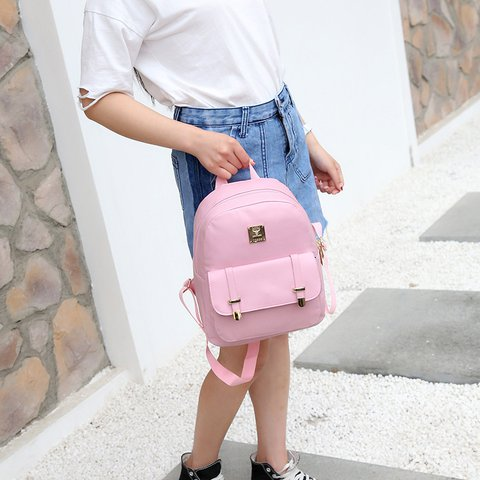 PU Leather Women Backpacks Fashion College Style Leisure Wild Students Schoolbags