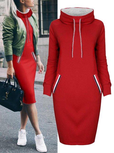 Long Sleeve Holiday Plain Turtleneck Hoody Dress
