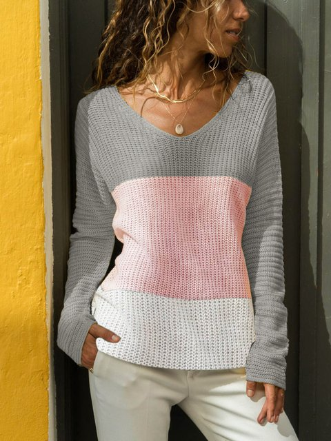 Plain V Neck Casual Solid Women's Soft Gorgeous Sweaters