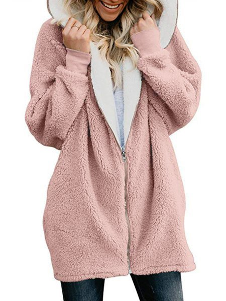Hoodie Cashmere Solid Sweet Coats