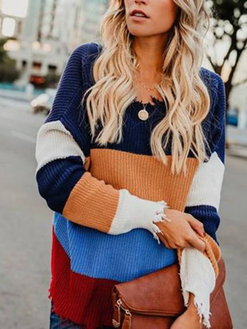 Knit sweater v-neck pullover with loose rainbow sweater