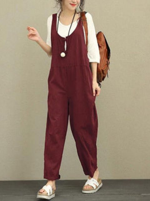 Plain U-Neck All Season Paneled Linen Casual Women's Jumpsuits