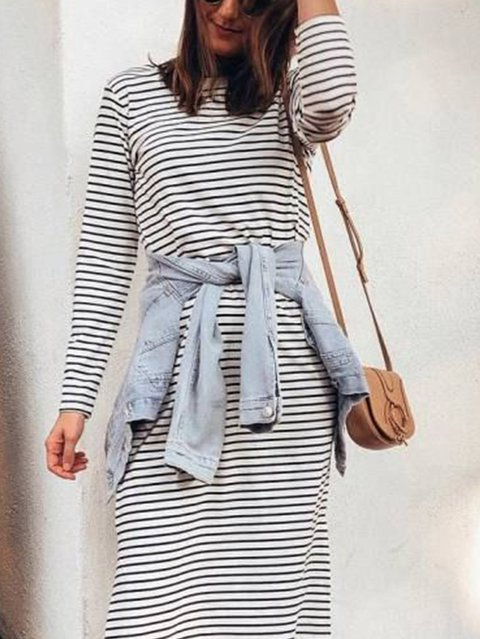 Crew Neck Black Women Casual Dresses Shift Daily Casual Slit Dresses