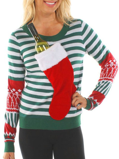 Green Striped Knitted Crew Neck Long Sleeve Ugly Chirstmas Sweaters