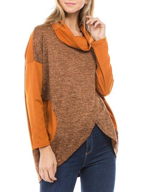Plain Turtleneck Asymmetric Color-Block Casual Women's Sweaters